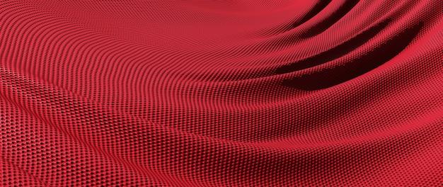 빨간 천의 3d 렌더링입니다. 무지개 빛깔의 홀로그램 호일. 추상 미술 패션 배경입니다.