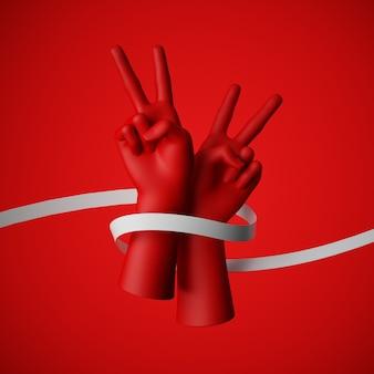 分離された白いリボンで包まれた赤い手の3 dレンダリング。平和的な抗議、人権のための戦い。