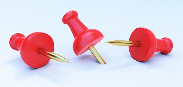 3d визуализация красной канцелярской кнопки