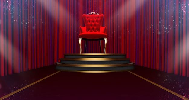 받침대에 레드 로얄 의자의 3d 렌더링. 왕을위한 장소. 빨간색 실크 배경에 왕좌,