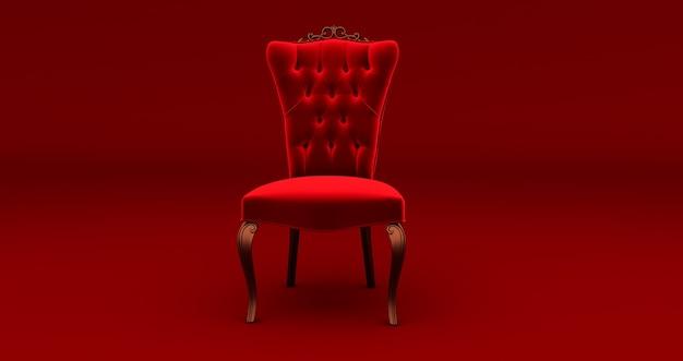 빨간색에 빨간색 왕의 의자의 3d 렌더링