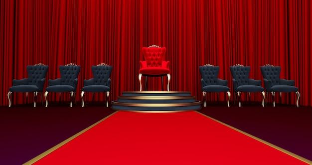 레드 로얄 의자의 3d 렌더링입니다. 호화로운 왕좌로 이어지는 레드 카펫, 왕을위한 장소. 왕좌, vip 개념