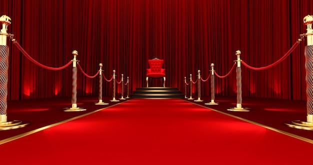 레드 로얄 의자의 3d 렌더링입니다. 호화로운 왕좌, 계단 및 골드 로프 장벽으로 이어지는 레드 카펫.