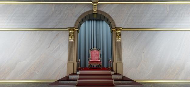 붉은 왕좌의 3d 렌더링, 왕좌의 방, 고급스러운 왕좌로 이어지는 레드 카펫
