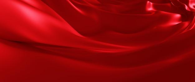 빨간색 실크의 3d 렌더링입니다. 추상 미술 패션 배경입니다.
