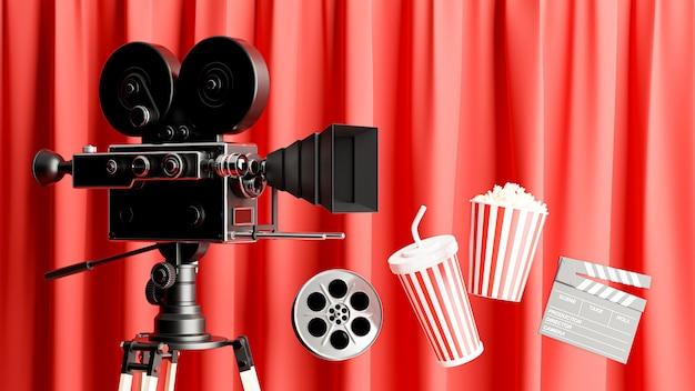 팝콘, 릴 필름, 클래퍼 보드, 음료 머그잔이 있는 복고풍 영화 카메라 장식의 3d 렌더링