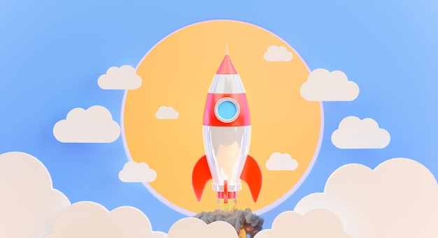 3d визуализация запуска ракеты с облаком