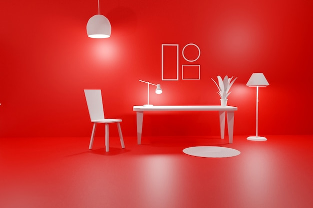 방의 3d 렌더링 현대적인 인테리어 빈 프레임
