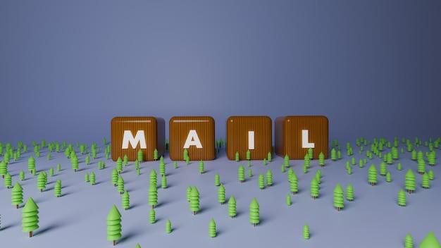 3d визуализация блестящего деревянного блока текста почты