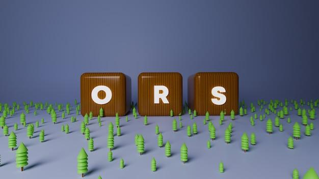 3d визуализация блестящего деревянного блока ors text