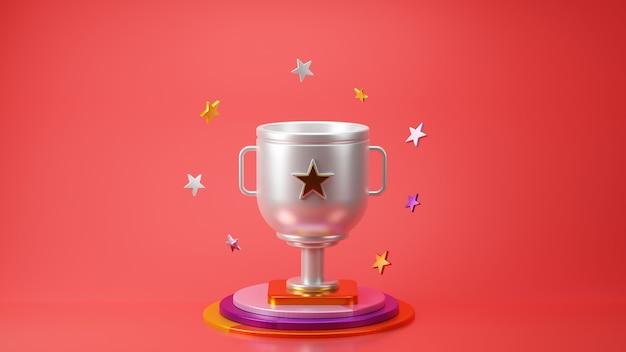 3d визуализация серебряного трофея со звездой на красном фоне