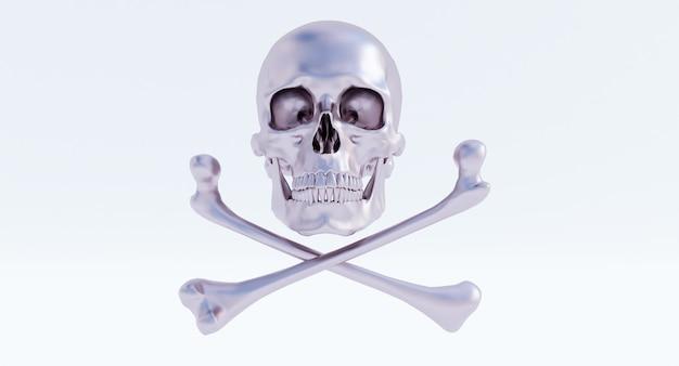 흰색 배경에 두개골과 이미지 격리됨의 3d 렌더링.