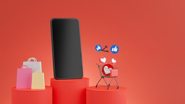 モックアップの赤い表彰台でオンラインショッピングのコンセプトを持つスマートフォンの3dレンダリング