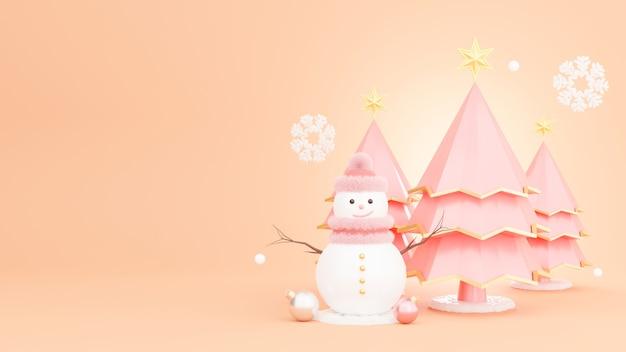雪だるまと装飾が施されたクリスマスツリーの3dレンダリング