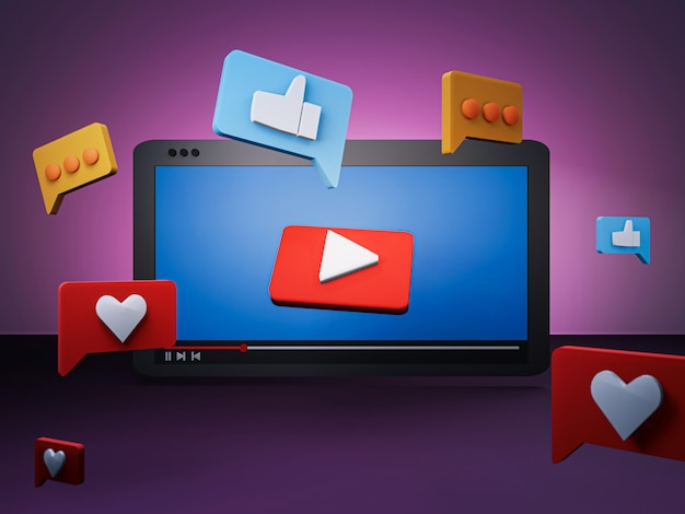 3d визуализация концепции социальных медиа с планшета и значок социальных медиа