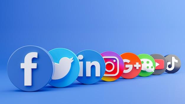 소셜 미디어 아이콘 모음의 3d 렌더링