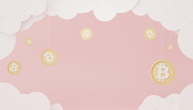 목표 개념을 위해 돈을 절약하기 위해 비트코인과 금 스택의 3d 렌더링
