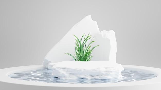 제품 디스플레이를 위한 수영장 추상이 있는 석조 연단의 3d 렌더링