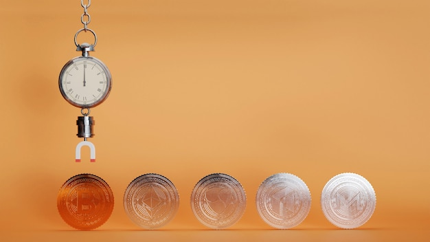 주황색 배경에 청동 bitcoin 및 은색 다른 암호화 동전을 끌어들이는 자석이 있는 스톱워치의 3d 렌더링.
