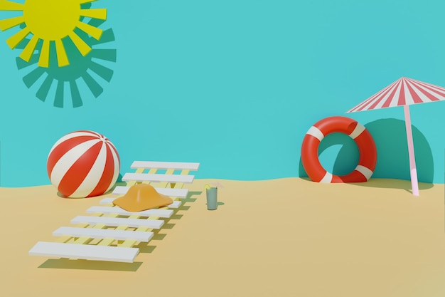 태양, lifebuoy, 공, 차가운 음료, 비치 의자, 태양 우산과 모자와 함께 여름 모래 해변의 3d 렌더링. 여름 여행 휴가 개념