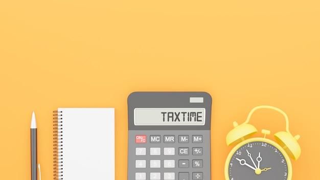 装飾と税の時間の概念の3dレンダリング