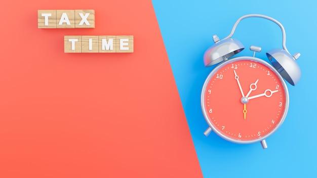 3d визуализация деревянных блоков значка налогового времени с будильником
