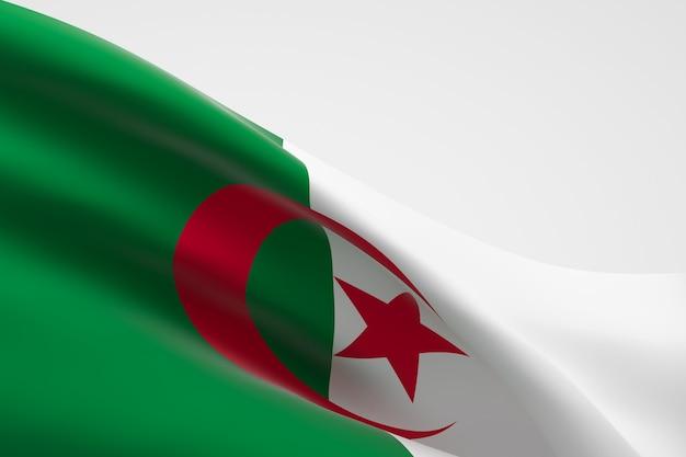 手を振っているアルジェリアの旗の3dレンダリング。