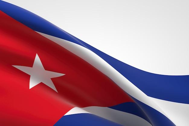 흔들며 쿠바 국기의 3d 렌더링입니다.