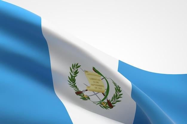 3d визуализация развевающегося флага гватемалы.