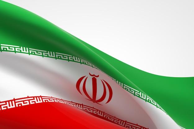 흔들며 이란 국기의 3d 렌더링입니다.