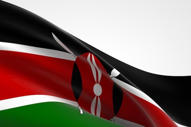 3d визуализация развевающегося флага кении.