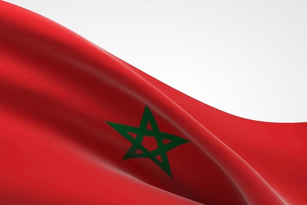 3d визуализация размахивая марокканским флагом.