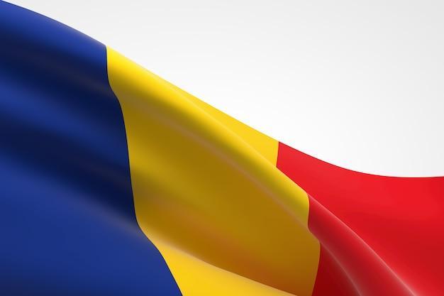 흔들며 루마니아 국기의 3d 렌더링입니다.