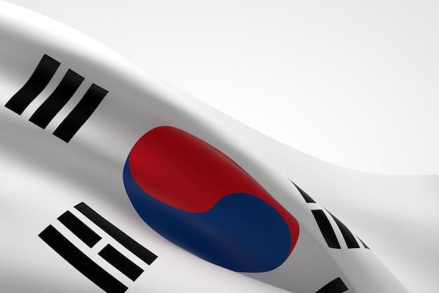 手を振っている韓国の旗の3dレンダリング。