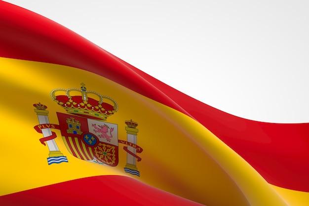 3d визуализация размахивая испанским флагом.