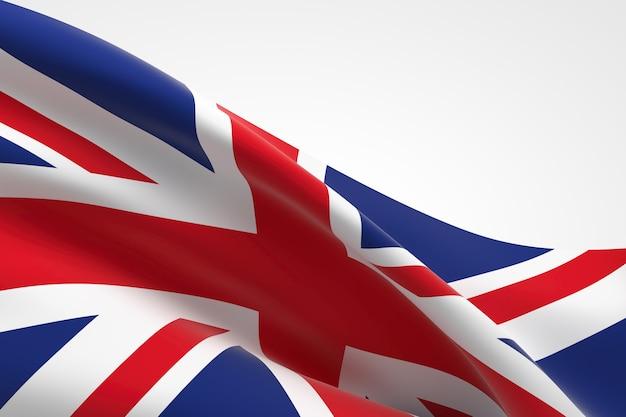 手を振っているイギリスの旗の3dレンダリング。