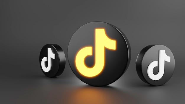 소셜 멀티미디어와 tiktok 아이콘의 3d 렌더링