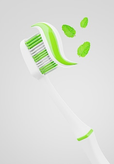 3d визуализация зубной щетки с пастой для демонстрации продукта