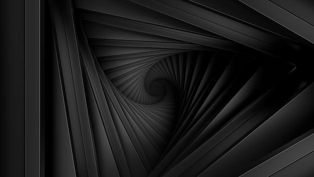 3d визуализация структуры витой геометрии. минималистичный. темный материал.