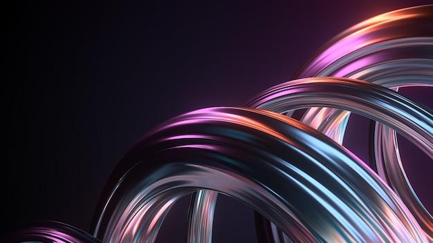 크롬 소재로 만든 꼬인 모양의 3d 렌더링입니다. 무지개 빛깔의 다채로운 반사입니다.
