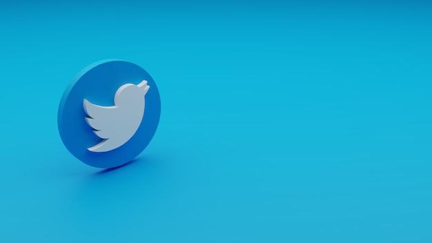 Copyspace와 트위터 로고의 3d 렌더링