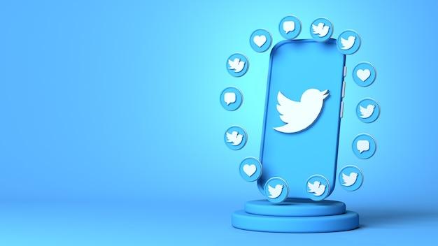 복사 공간이 있는 twitter의 3d 렌더링