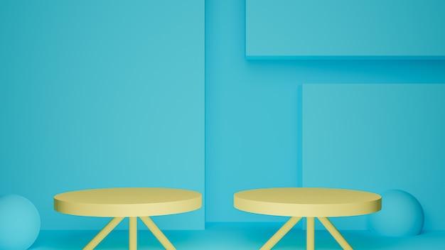 3d визуализация двух желтых подиумов в голубой комнате