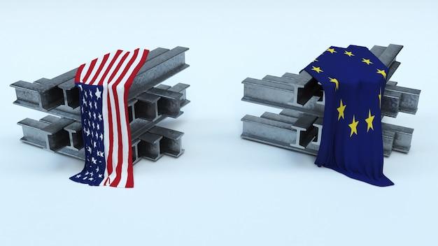 米国の鉄鋼輸入タリフの3dレンダリング
