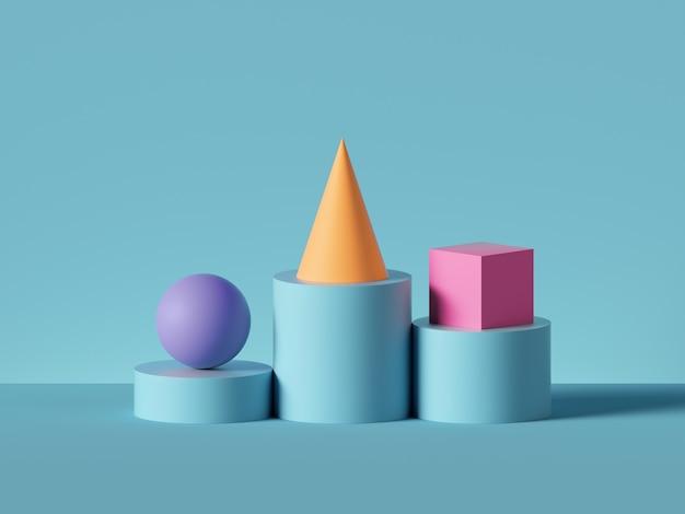 3d визуализация фиолетового шара, желтого конуса, розового куба на синем цилиндре