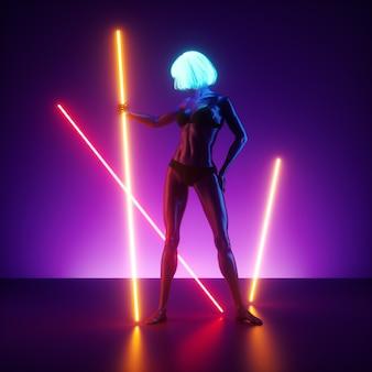 3d визуализация, виртуальная женская модель позирует, стоя на сцене, держа светящиеся линии неонового света. реалистичная кукла-манекен.