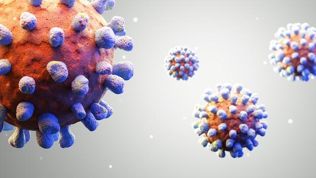 3d визуализация вируса, вызвавшего большую пандемию