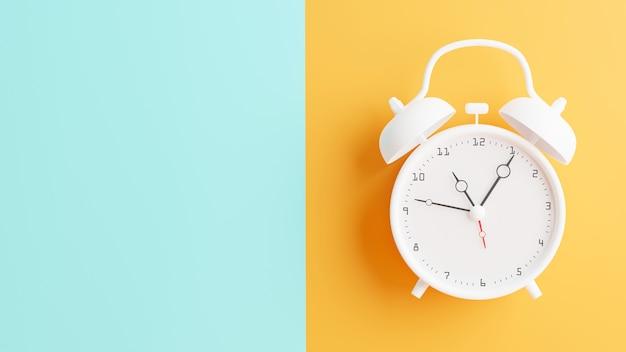 3d визуализация белого будильника на цветном фоне половины