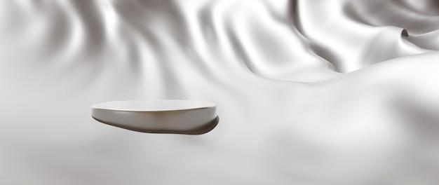 흰색 천과 연단의 3d 렌더링입니다. 추상 미술 패션 배경입니다. 장면 무대 플랫폼 쇼케이스, 제품, 프레젠테이션, 연단의 화장품.