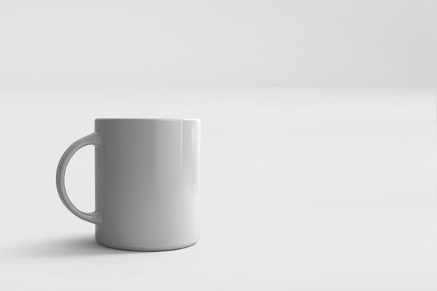 흰색 절연 흰색 머그잔의 3d 렌더링